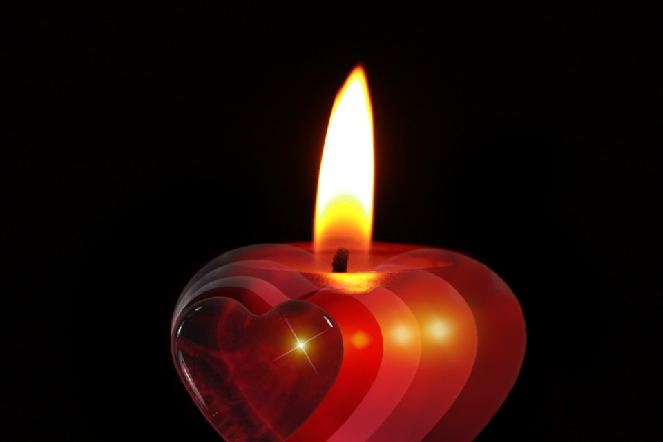 Christmas Advent Celebration Candle Heart December